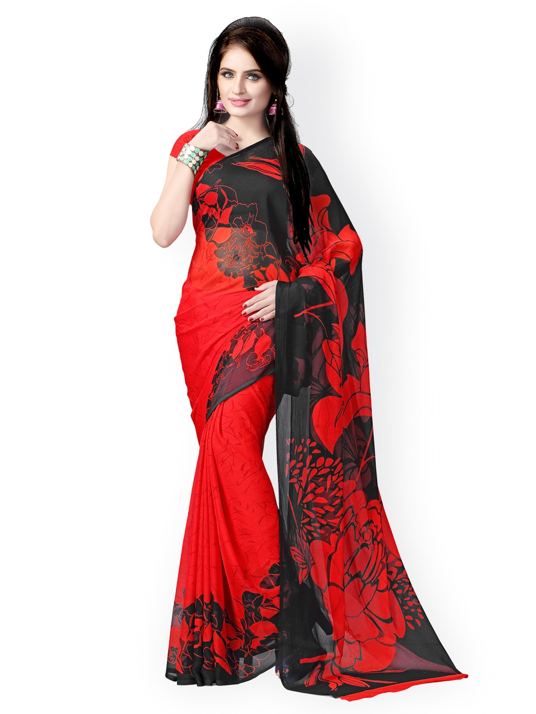 88782d184397e3 Buy Vaamsi Red   Black Poly Georgette Printed Saree - Sarees for ...