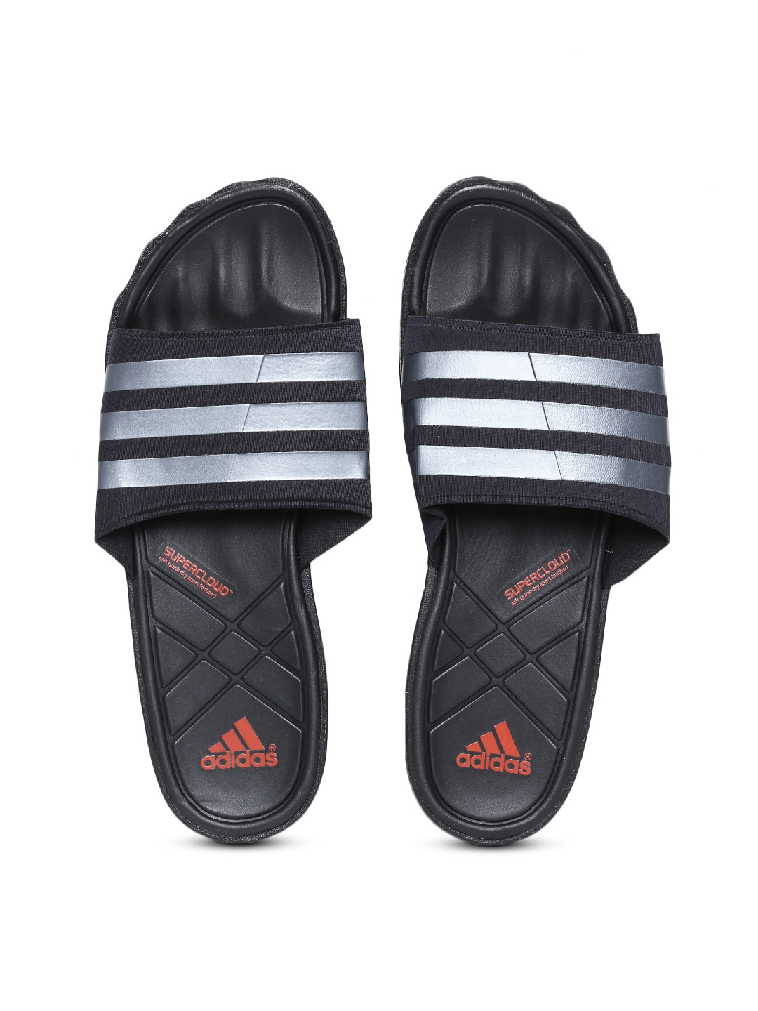 2eaee64e7c7381 Adidas b26322 Men Black And Grey Adipure Slide Striped Flip Flops- Price in  India