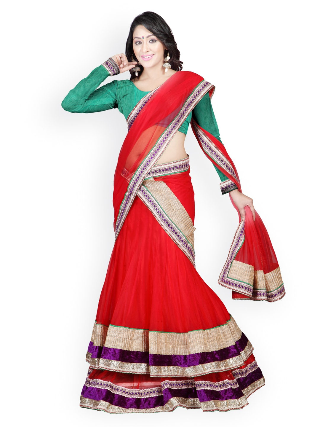Florence Red Embroidered Georgette Semi-Stitched Lehenga Choli Material with Dupatta image