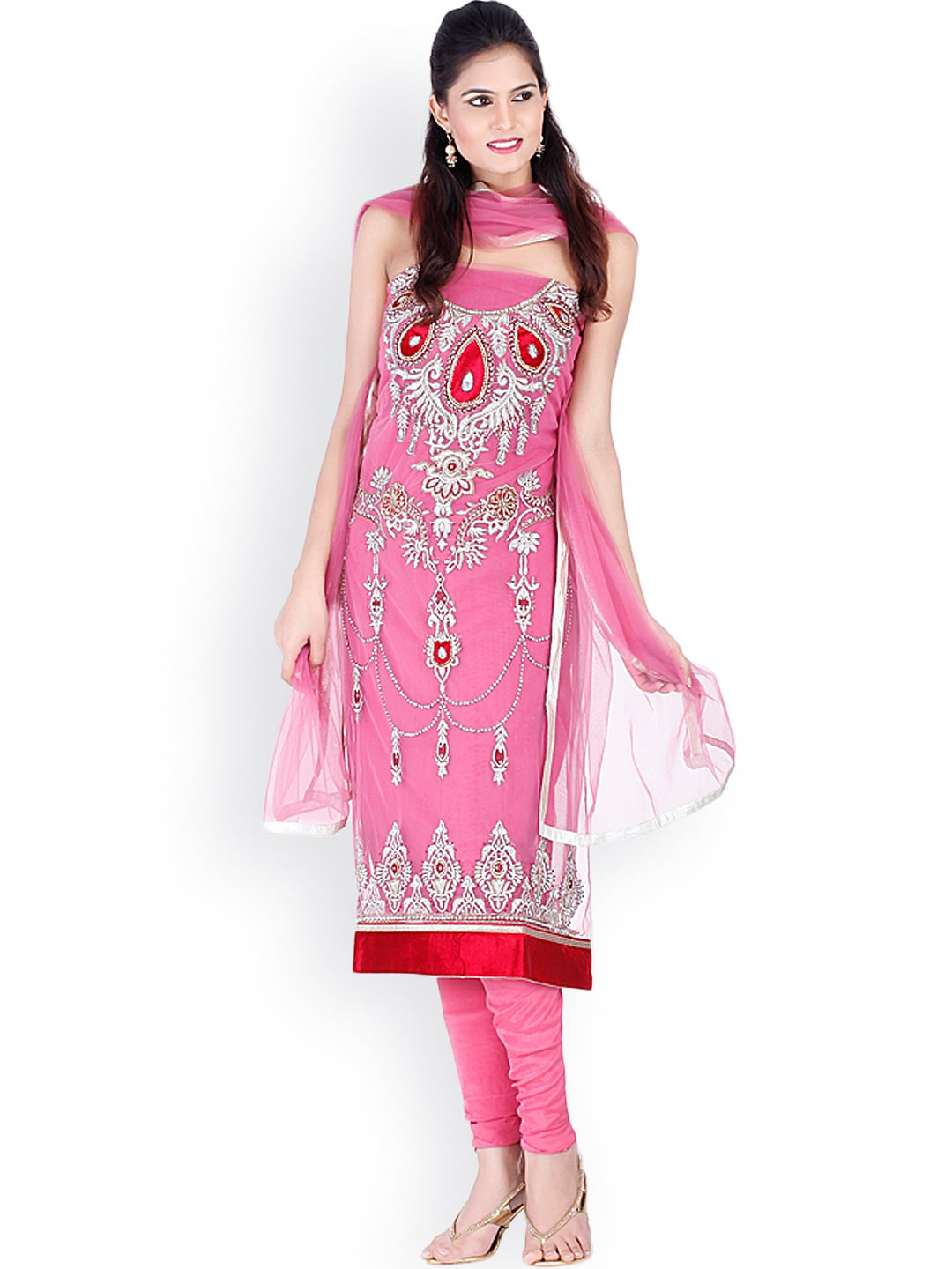 Chhabra 555 Pink Embroidered Unstitched Dress Material image