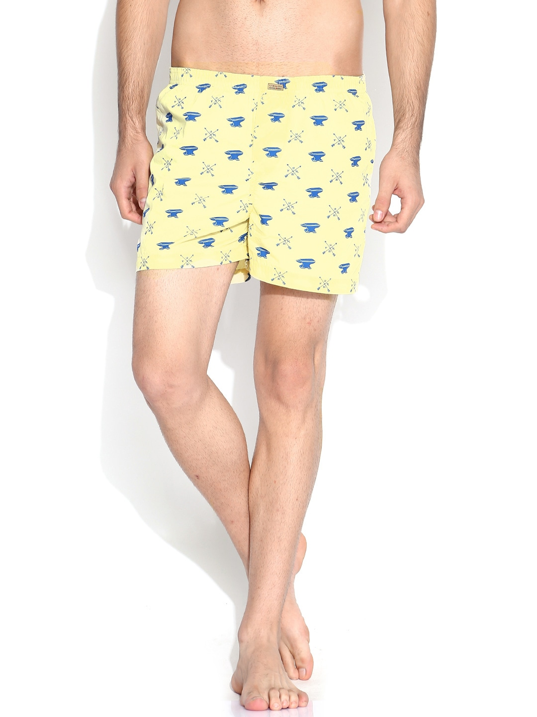 Flying Machine Light Yellow & Blue Printed Boxers FMST0200 image