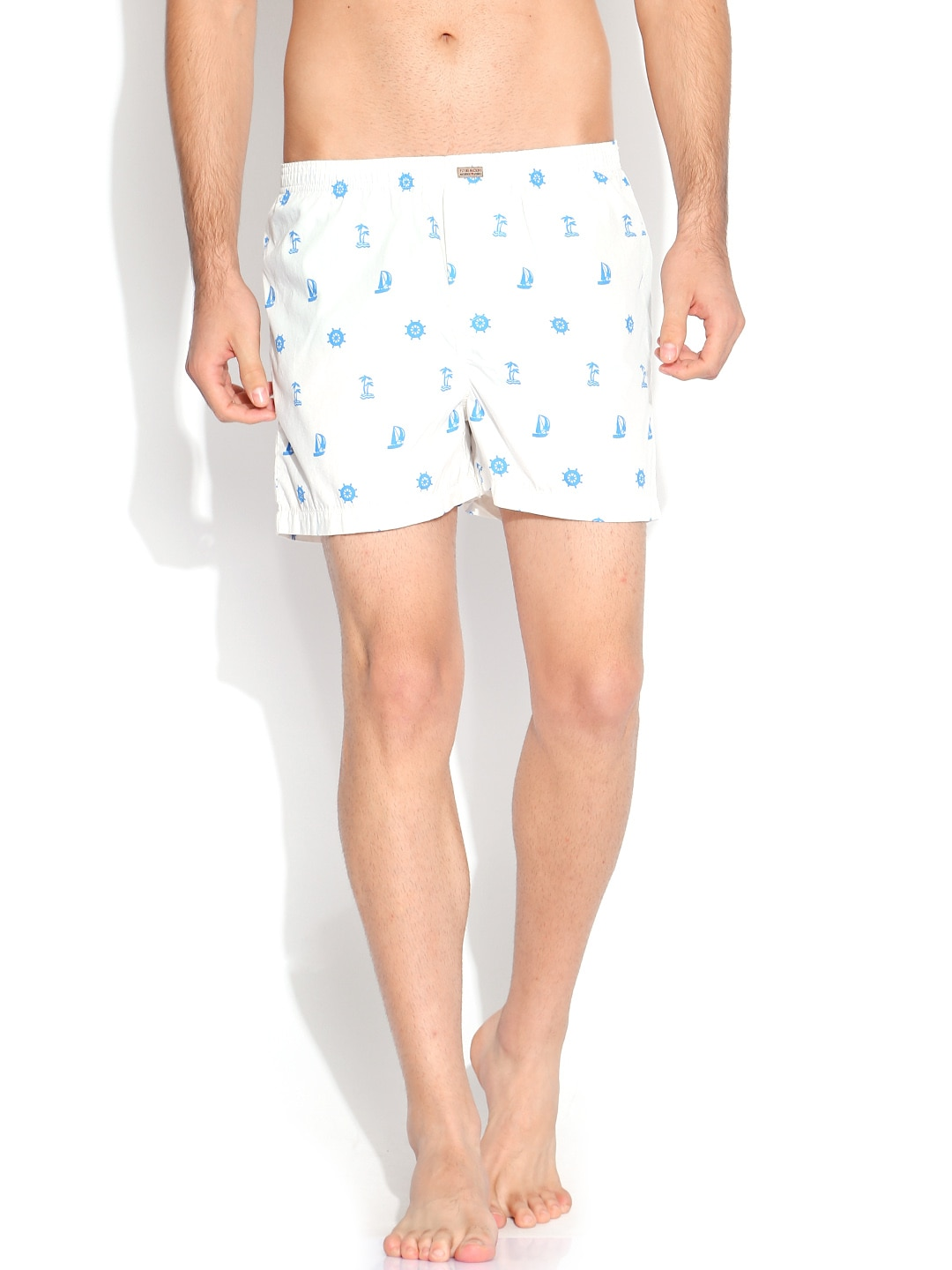 Flying Machine White & Blue Printed Boxers FMST0204 image