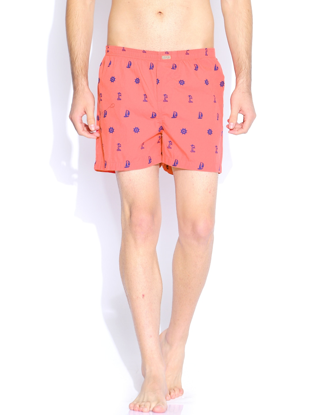 Flying Machine Coral Pink & Blue Printed Boxers FMST0206 image