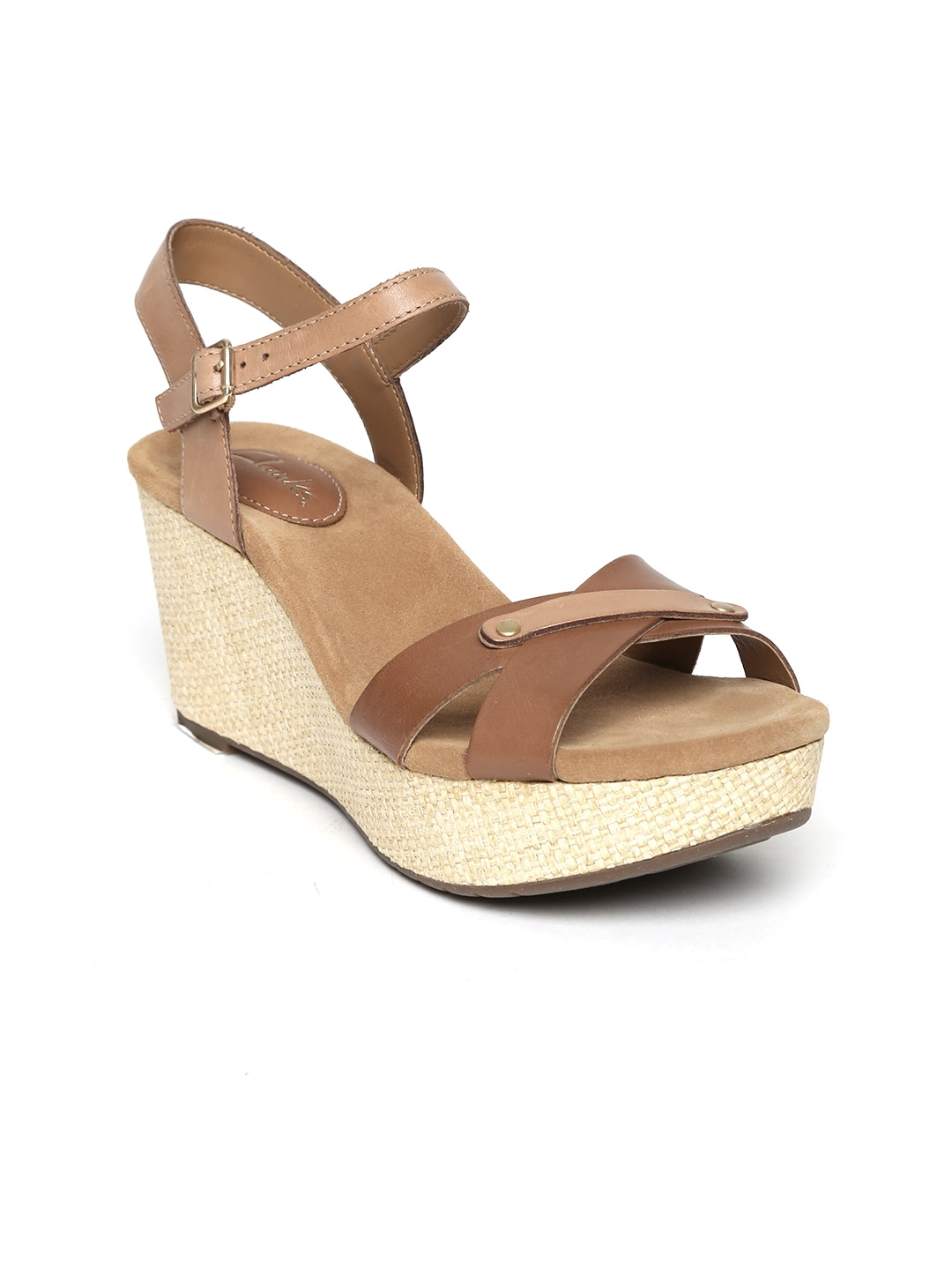 Clarks Women Brown Perfect Laugh Leather Platforms image