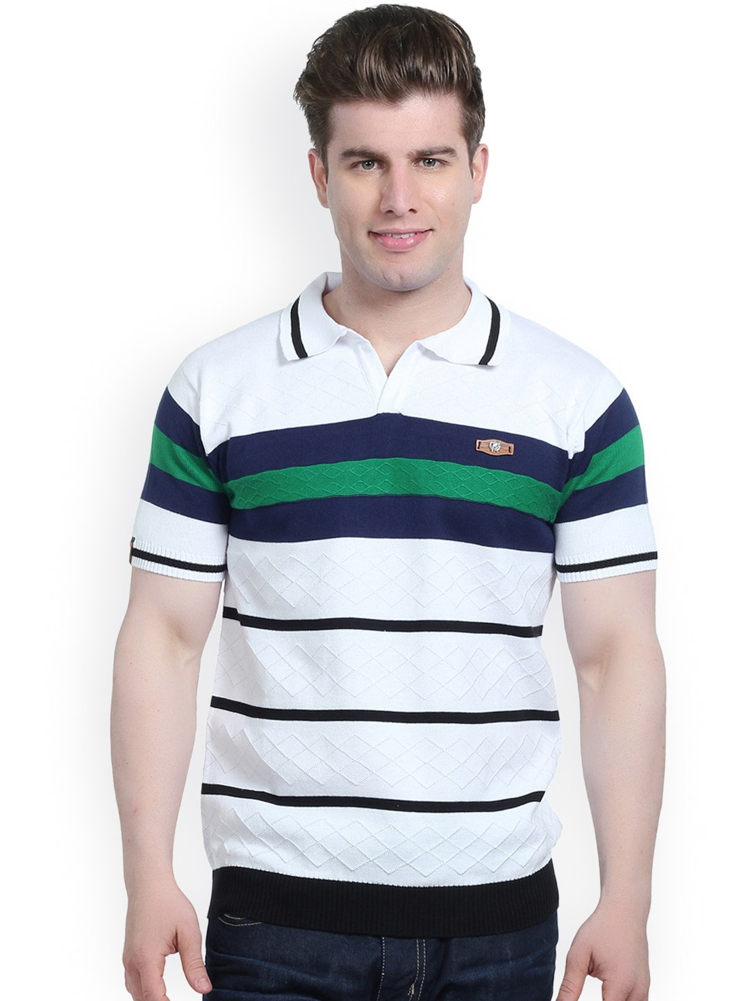 11f5326300b Stride 4641-white White And Black Striped Slim Fit Polo T Shirt- Price in  India