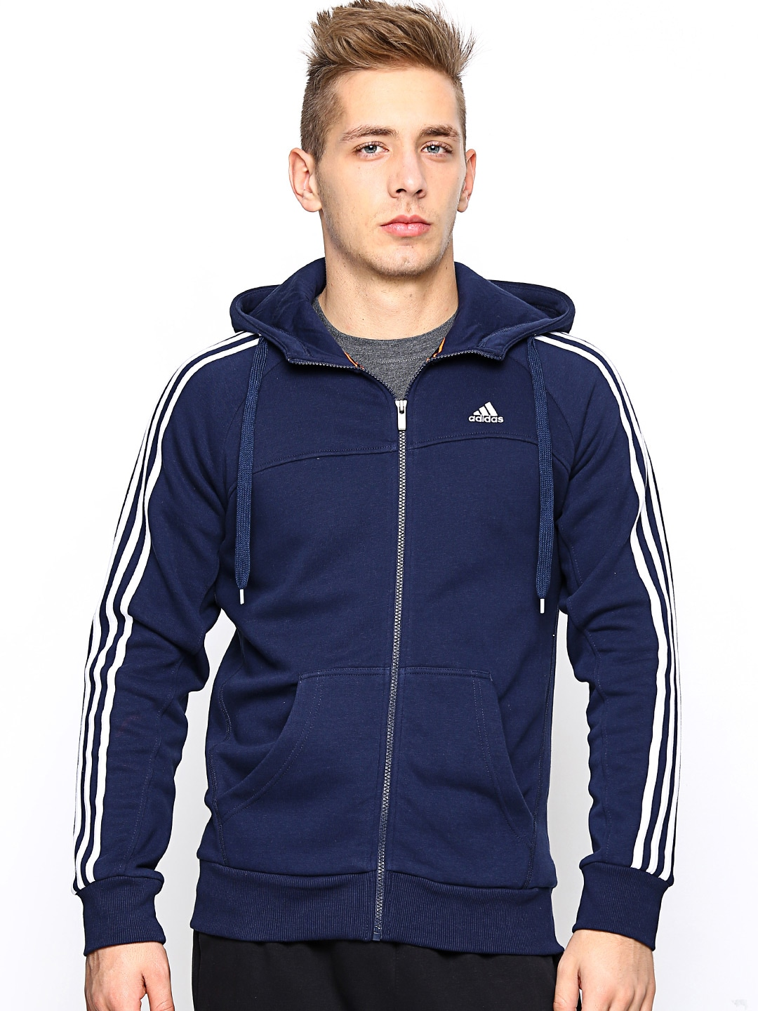 shop hot product really comfortable Adidas x20775 Men Navy Ess 3s Fz Hooded Training Sweatshirt