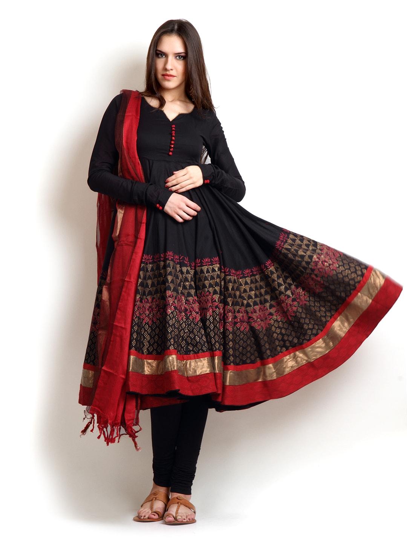 5e61ee44d4 Biba 63244 Women Black Red Printed Salwar Suit - Best Price in India ...
