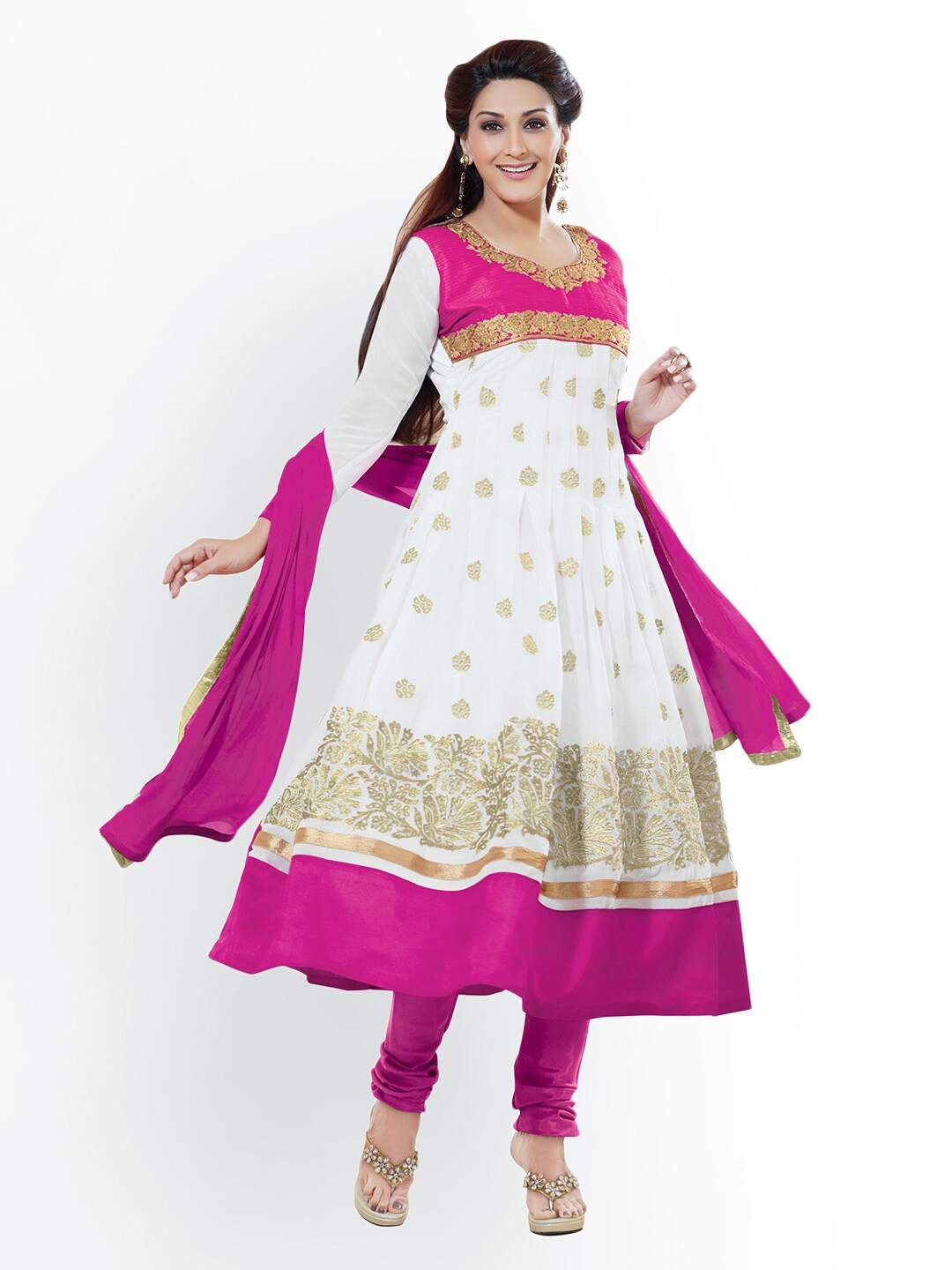 d69a6e9ae0 Florence sb-1450 White Pink Georgette Unstitched Anarkali Dress Material-  Price in India
