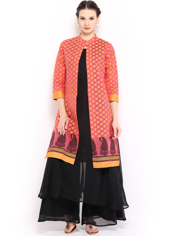 a17269dc98f17c Folklore foku000817 Women Black Sharara Pants Kurta With Jacket Set