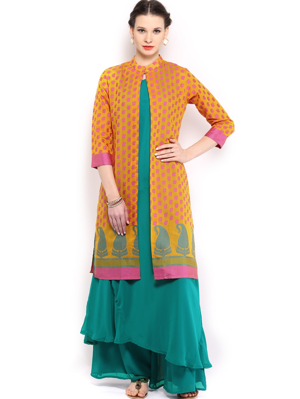8d2e7b44e4b598 Folklore foku000815 Women Green Yellow Sharara Pants Kurta With ...