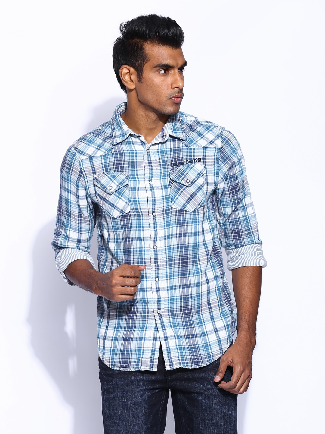 f943e6413f36 Guess m21216w25j0 Men Blue And White Checked Shirt - Best Price ...
