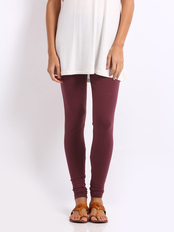 76d55ecfe137d6 Go colors 1409 Women Maroon Cotton Stretch Churidar Leggings- Price in India