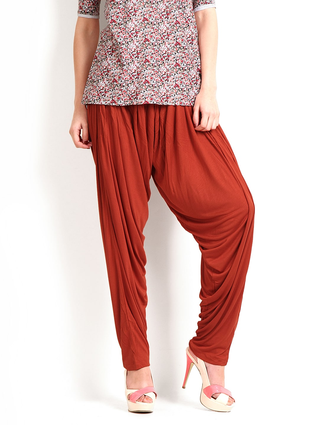 Go Colors 5297 Women Rust Orange Jersey Patiala Pants Price In India