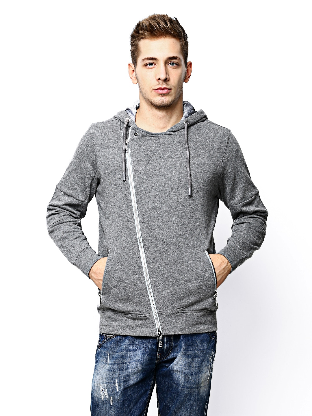 Jack & Jones Men Grey Melange Hooded Sweatshirt image