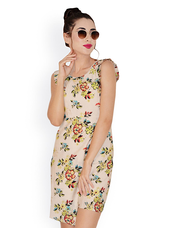 Magnetic Designs Beige Floral Print Tailored Dress image