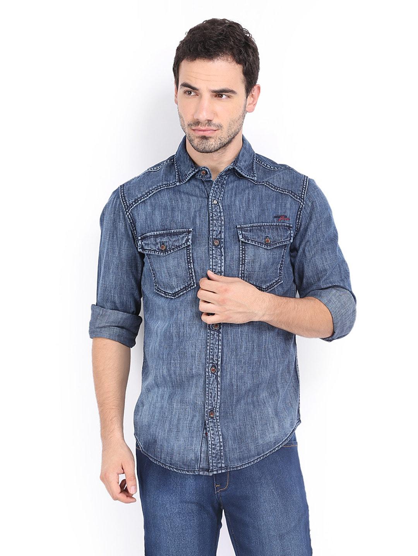 26039565893 Mufti mfs-5617-59 Men Blue Slim Fit Denim Casual Shirt - Best Price ...