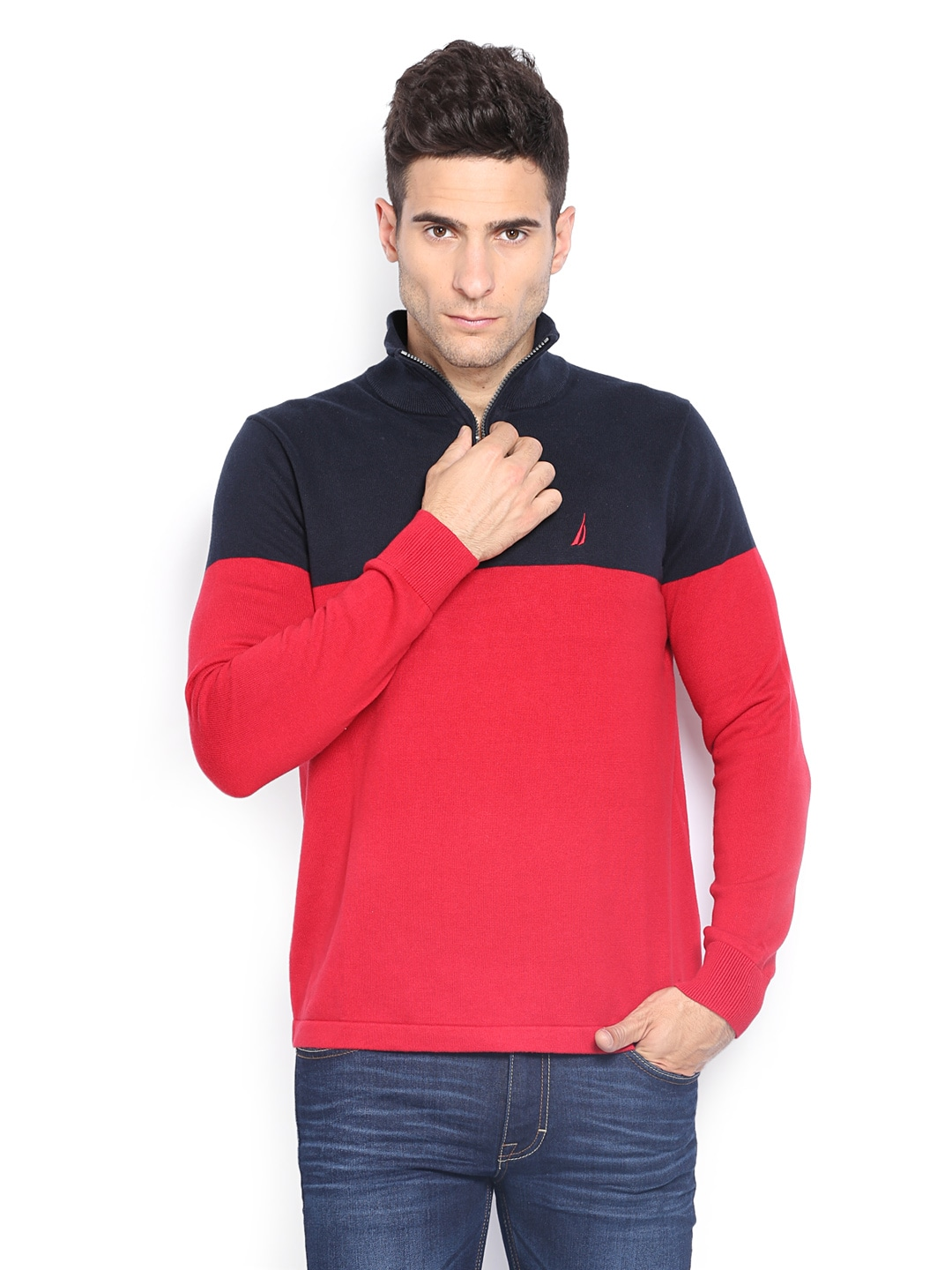 Nautica nts434106nr,6nr Men Red And Navy Sweater, Price in India