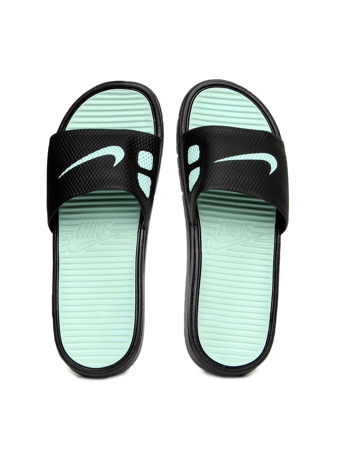 designer fashion aba9b 7795b mint green nike flip flops