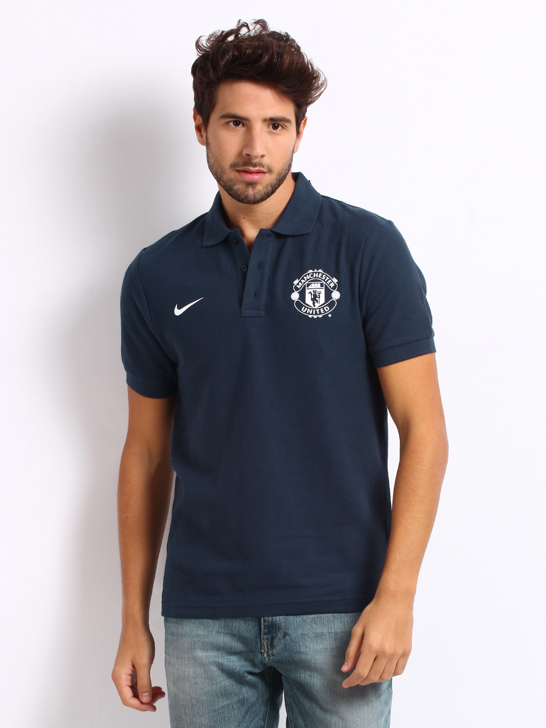 save off a3e64 f0510 Nike 546985-410 Men Navy Manchester United Polo T Shirt ...