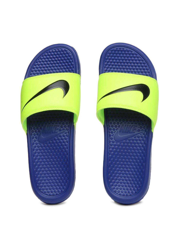 69f7b916a13e Nike 312618-740 Men Fluorescent Green Blue Benassi Swoosh Flip Flops- Price  in India