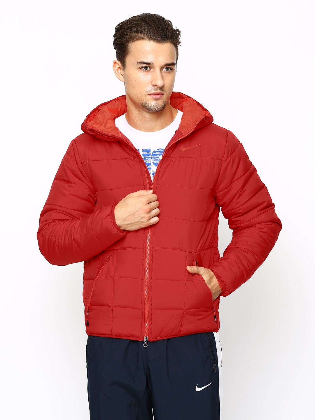 9a658b753 Nike 702729-687 Men Red Em Alliance 550 Hooded Padded Jacket- Price in India