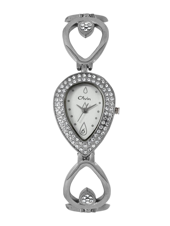 Olvin Women Silver Toned Dial Watch 1663 image