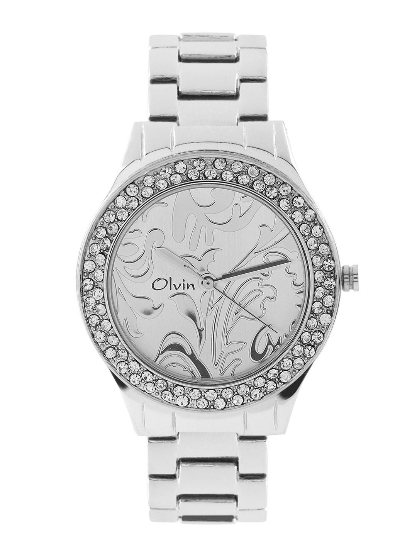 Olvin Women Silver-Toned Dial Watch 1677 SM05 image