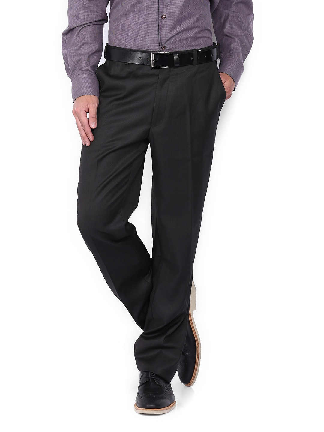 2c9dc8ce6ad Oxemberg ot0002 Men Black Army Regular Fit Formal Trousers- Price in India