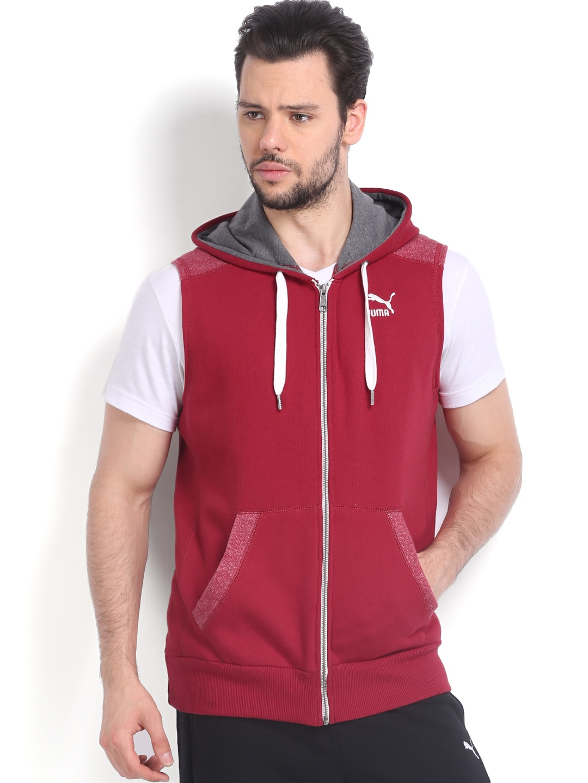 7822f92460107 Puma 56770001 Men Red Hooded Sleeveless Sweatshirt - Best Price ...