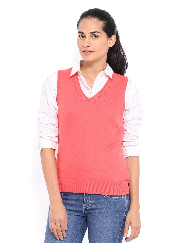 077ec2c4e79542 Puma 82864710 Women Coral Pink Sleeveless Sweater - Best Price ...