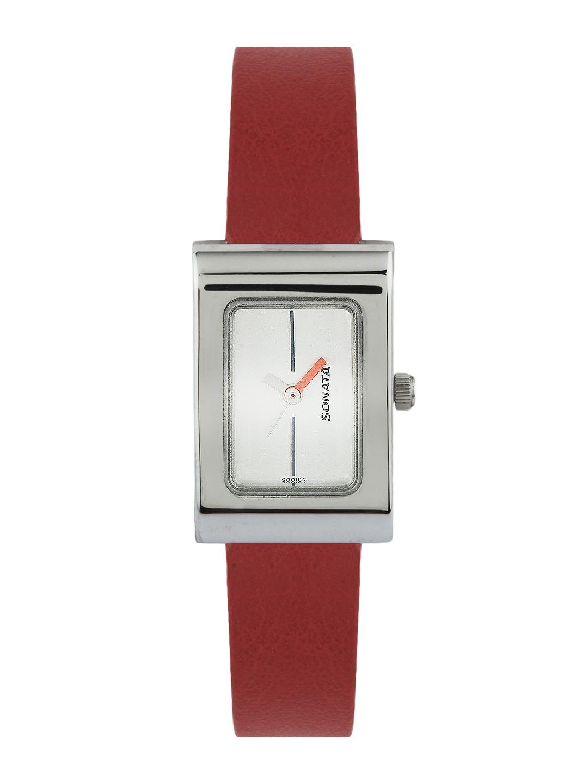 Sonata Women Silver-Toned Dial Watch image.