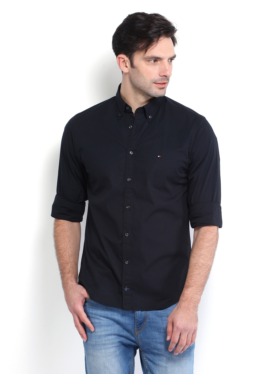 1ab29b60 Tommy hilfiger a4amw178 Men Black New York Fit Casual Shirt- Price in India