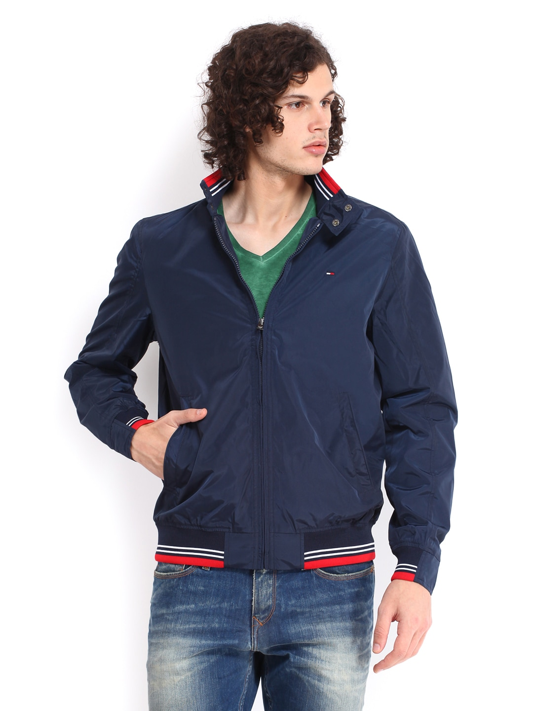 Tommy Hilfiger A4amo001 Men Navy Chase Bomber Jacket Best Price In