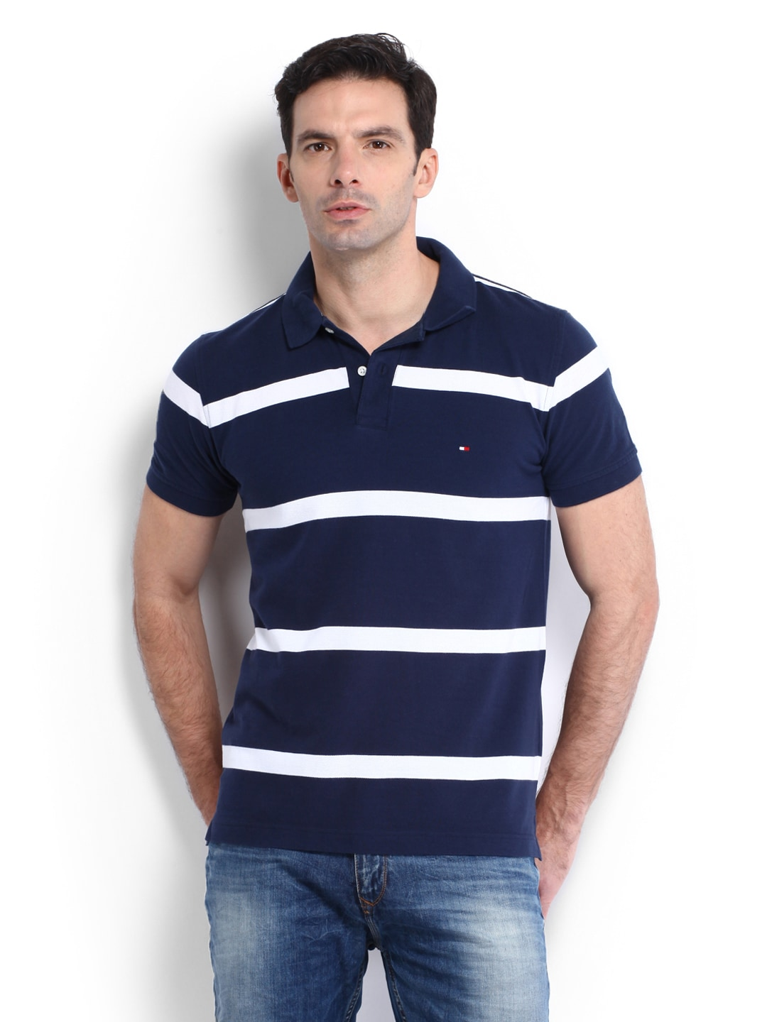 ba1597658 Tommy hilfiger a4amk075 Men Navy White Striped Mads Polo T Shirt- Price in  India