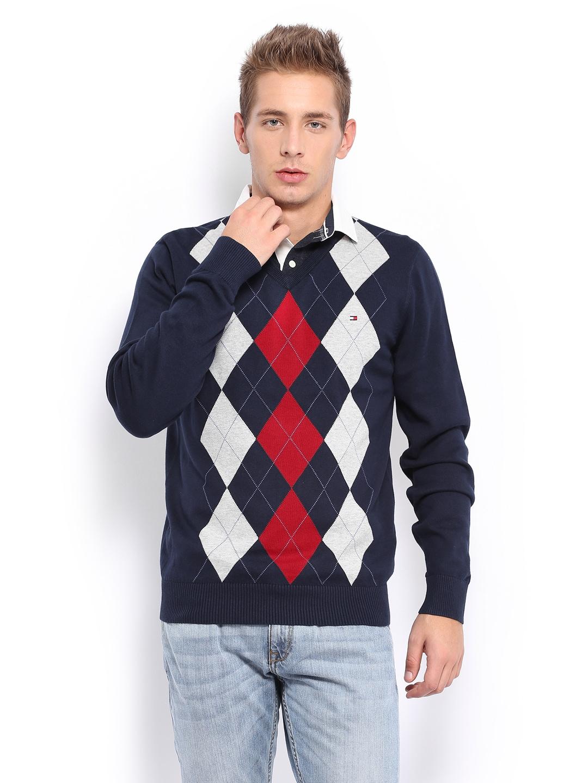 e0348efccaa Tommy hilfiger a4cms004 Men Navy Bishop Argyle Sweater - Best ...