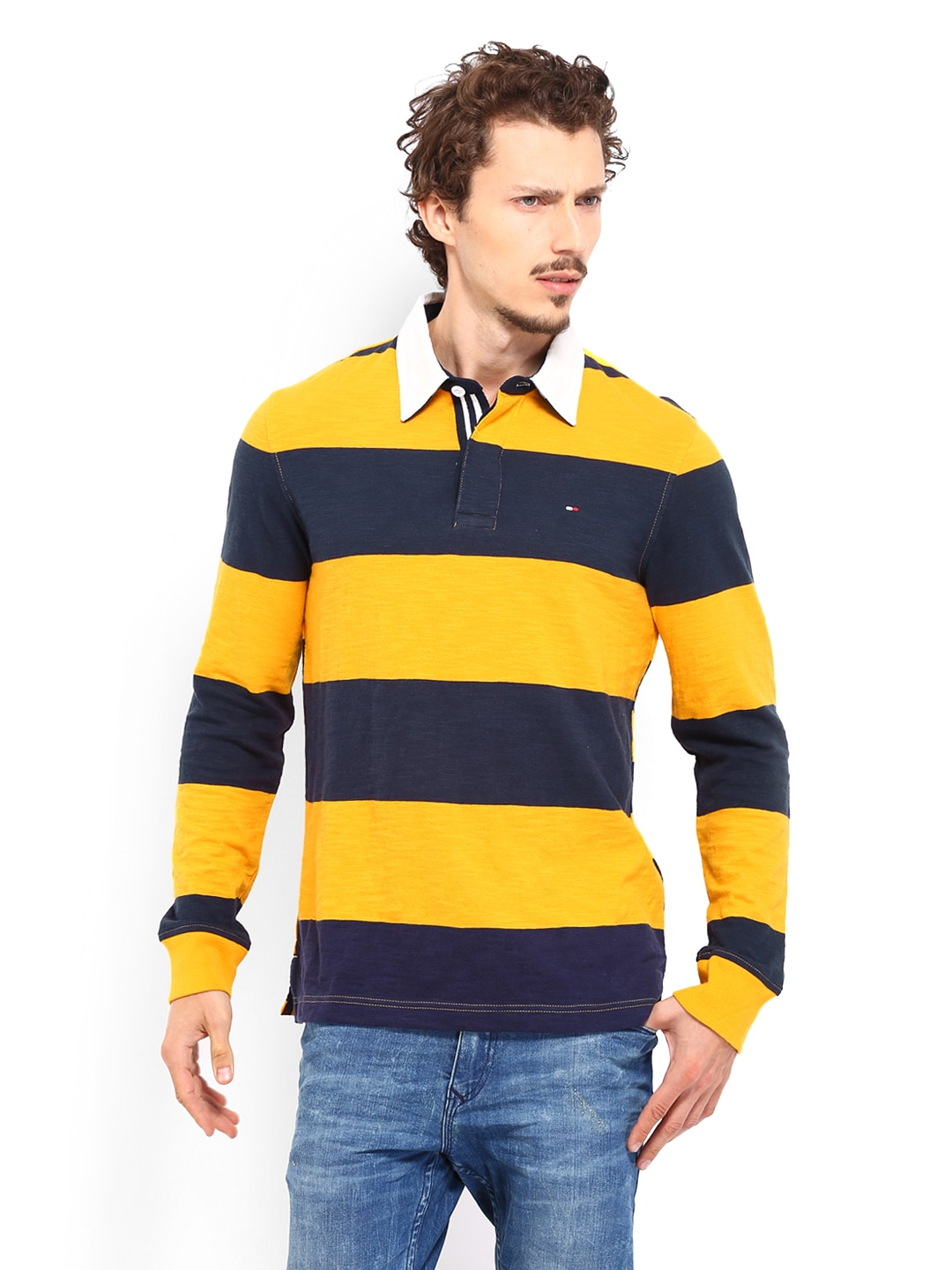 a4cafc5e Tommy hilfiger a4cmh007 Men Yellow Navy Striped Padington Rugby Polo T  Shirt- Price in India