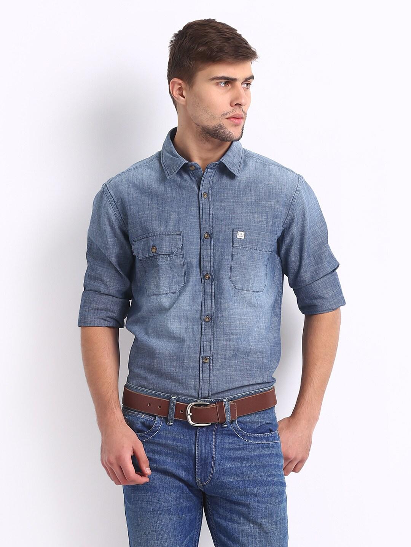 862353b3b9 Us polo assn ussh3230 U S Polo Assn Men Blue Denim Slim Fit Casual Shirt-  Price in India