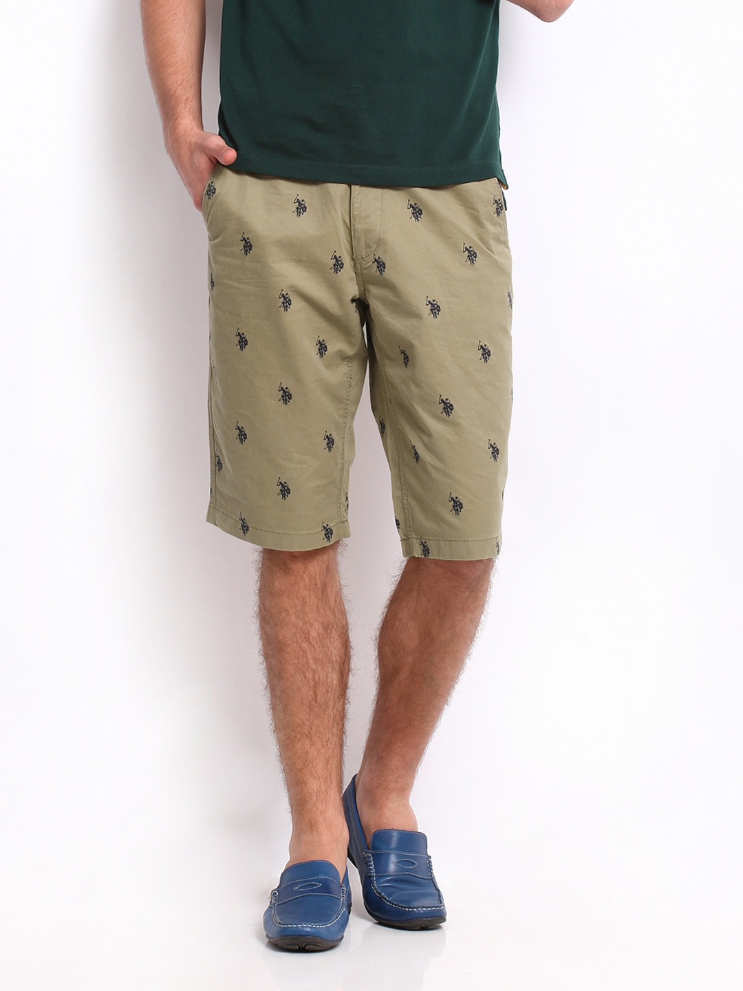 e2bf37df0 Us polo assn usst0205 U S Polo Assn Men Khaki Slim Fit Printed Shorts-  Price in India