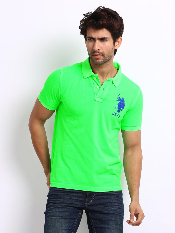 Us Polo Assn Usts1858 Us Polo Assn Men Neon Green Pique Polo T