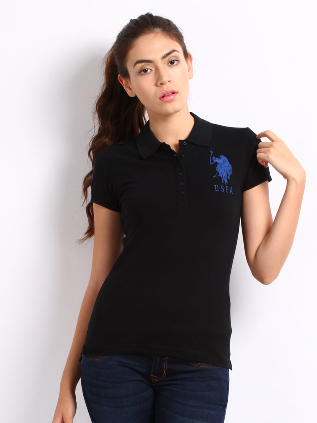 66133a14 Us polo assn uwts0223 U S Polo Assn Women Black Slim Fit Polo T Shirt-  Price in India