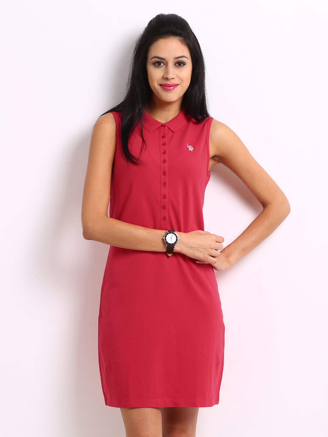 8ca73762c Us polo assn uwdr0096 U S Polo Assn Women Coral Red Shirt Dress- Price in  India
