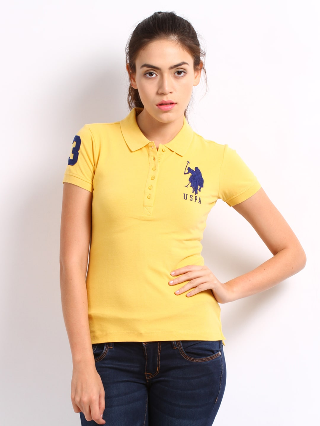 a0c87b2bd93753 Us polo assn uwts0230 U S Polo Assn Women Yellow Polo T Shirt- Price in  India