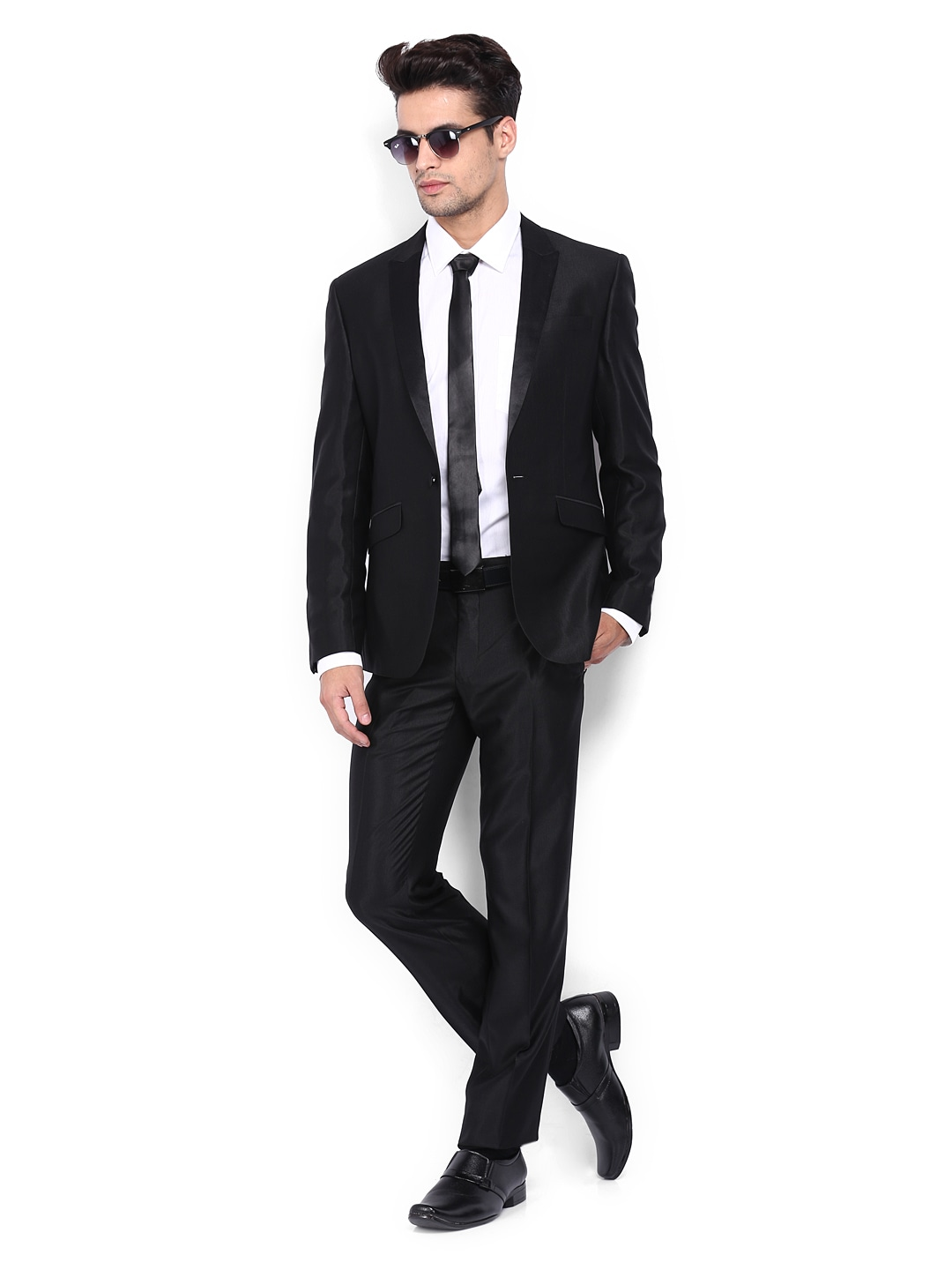 205b5eae49d Van heusen vhsu1c00958 Men Black Slim Fit Single Breasted Suit- Price in  India