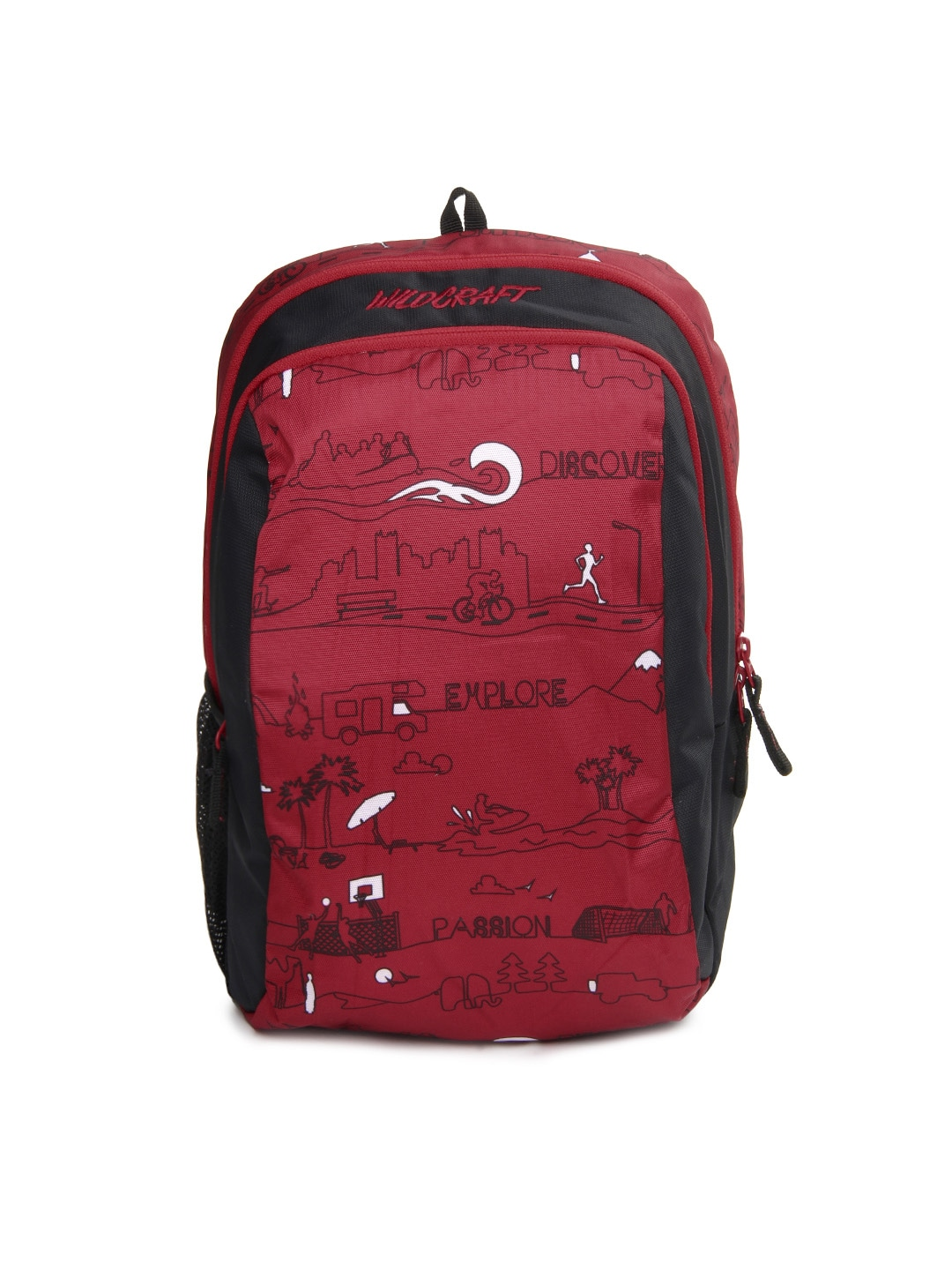 Wildcraft 8903338018766 Kids Red And Black Scoot Ld Printed Backpack