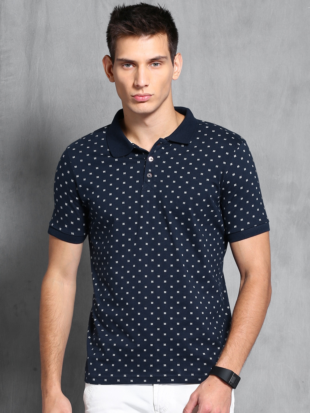 Design your t shirt myntra - Wrogn Navy Printed Polo T Shirt