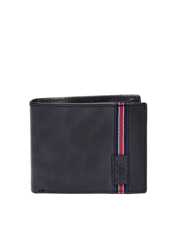 Mens leather gloves online india - U S Polo Assn Men Black Genuine Leather Wallet