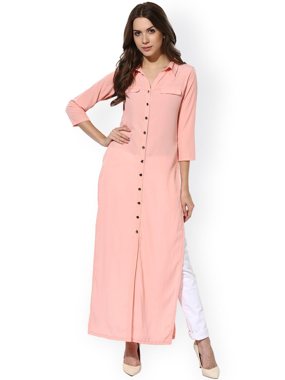 Shirt design kurti - Aks Peach Coloured Crepe Kurta