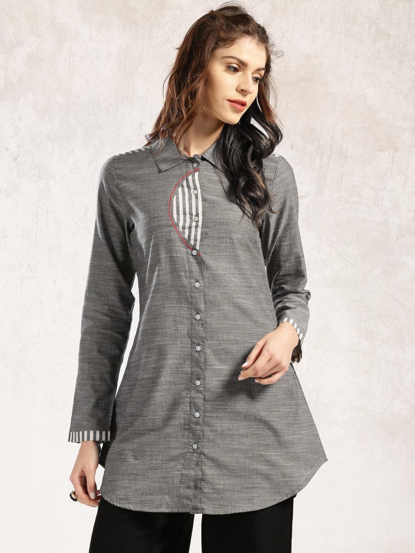Shirt design kurti - Anouk Charcoal Grey Chambray Shirt Style Kurti