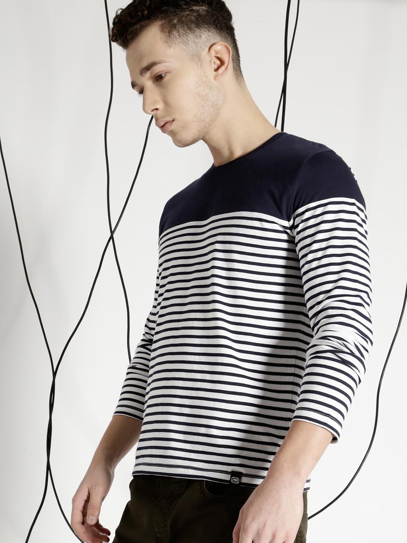 Design your t shirt myntra - Ecko Unltd Men Navy Blue Striped Round Neck T Shirt