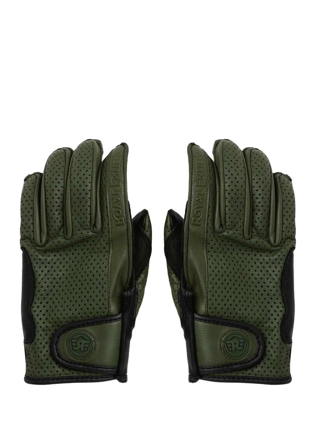 Motorcycle leather gloves india - Royal Enfield Unisex Olive Green Leather Summer Riding Motorcycle Gloves